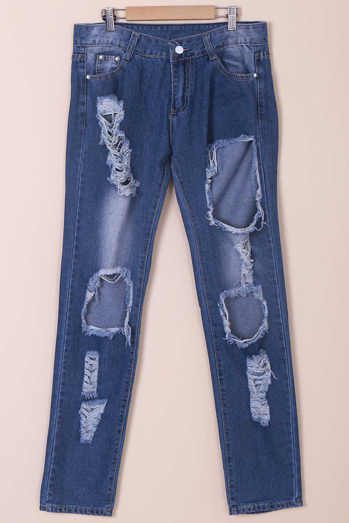 Casual Women's Mid-Waisted Destroy Wash Ripped Jeans - BLUE M