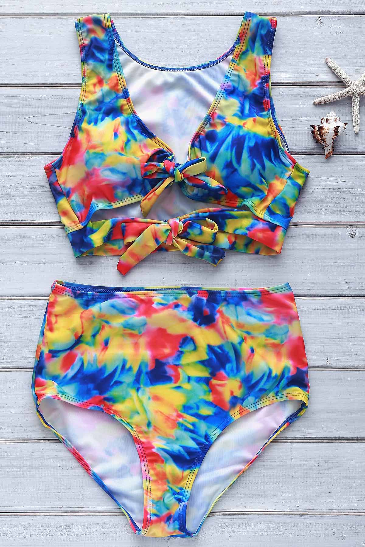 Sexy Plunging Neck Floral Print High-Waisted Tropical Bathing Suit For Women - COLORMIX L