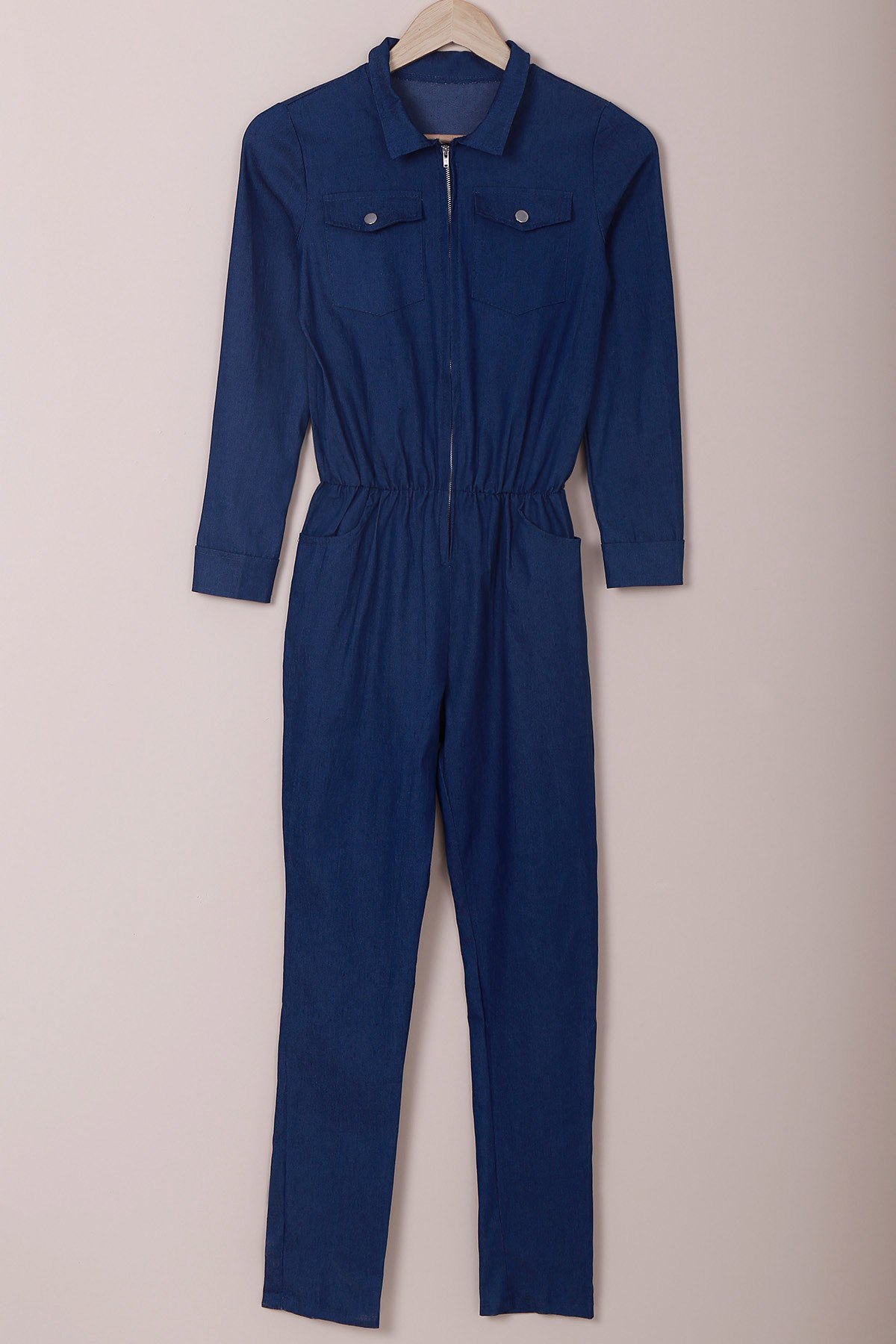 Novelty Turn-Down Collar Half Zippered Long Sleeve Denim Jumpsuit For Women
