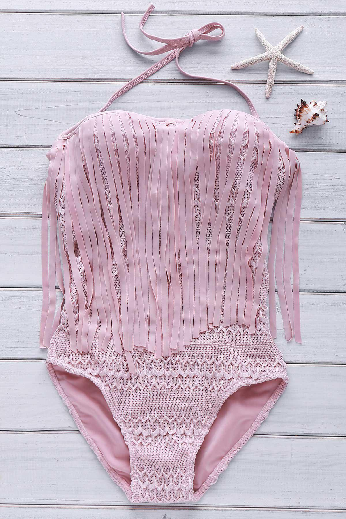 Sexy Halter Hollow Out Lace Tassles One Piece Swimwear For Women - APRICOT M