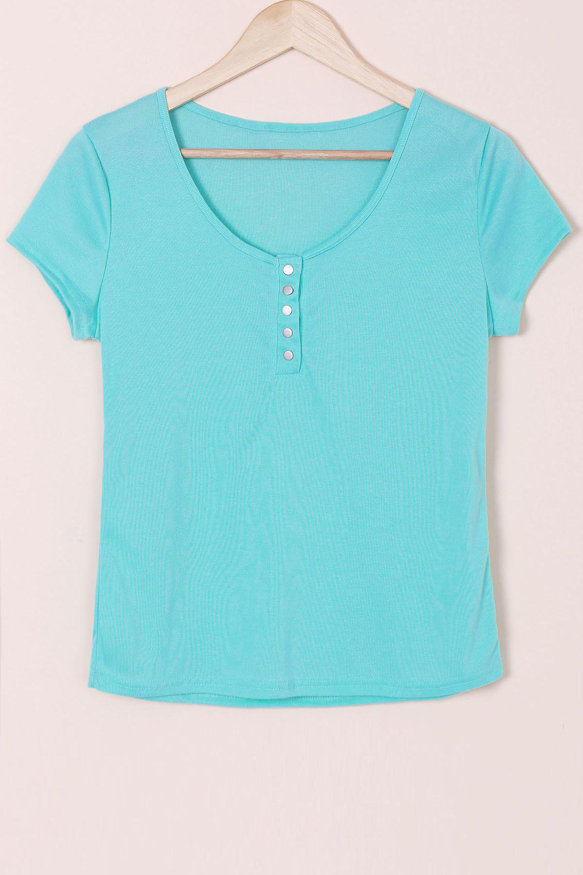 Sexy Scoop Neck Short Sleeve Solid Color Slimming Women's T-Shirt - BLUE S