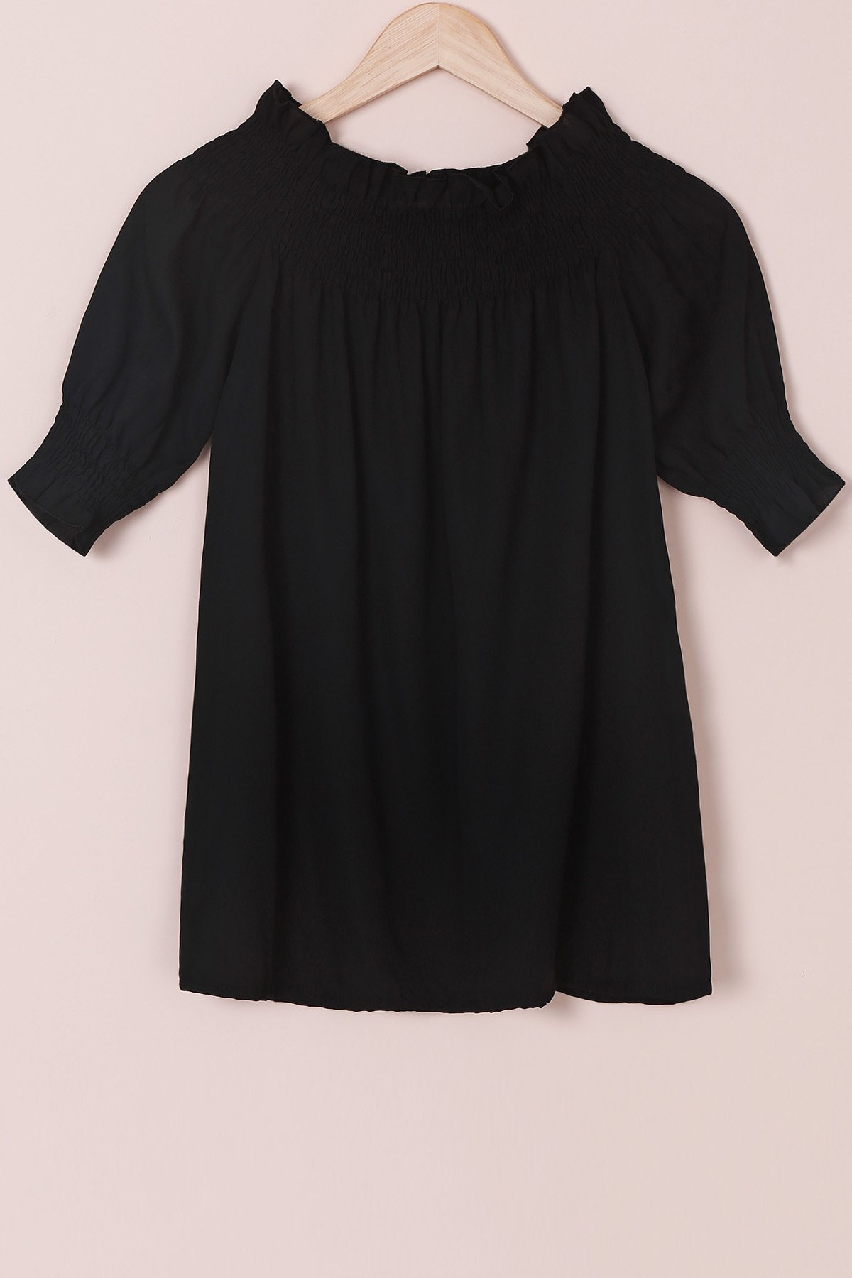 Trendy Off-The-Shoulder 3/4 Sleeve Solid Color Blouse For Women - S BLACK