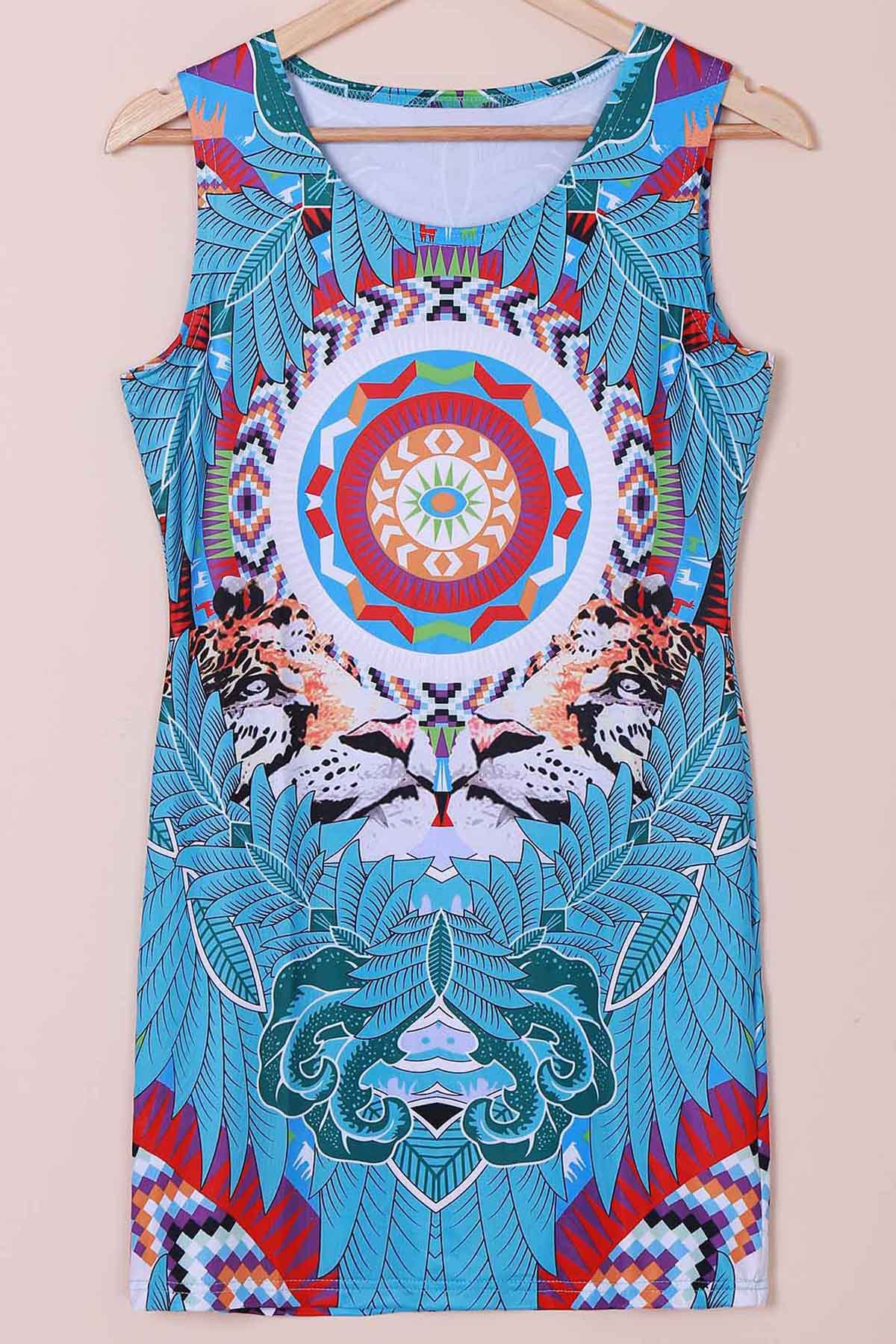 Retro Jewel Neck Sleeveless Tribal Print Women's Dress