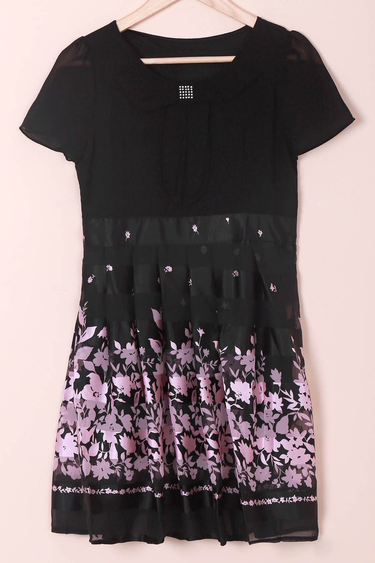 Elegant Peter Pan Collar Floral Print Short Sleeve Chiffon Dress For Women - BLACK/PINK M