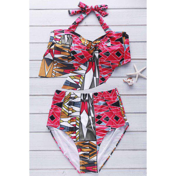 Sexy Halter Flounced Printed Plus Size Two-Piece Women's Swimsuit
