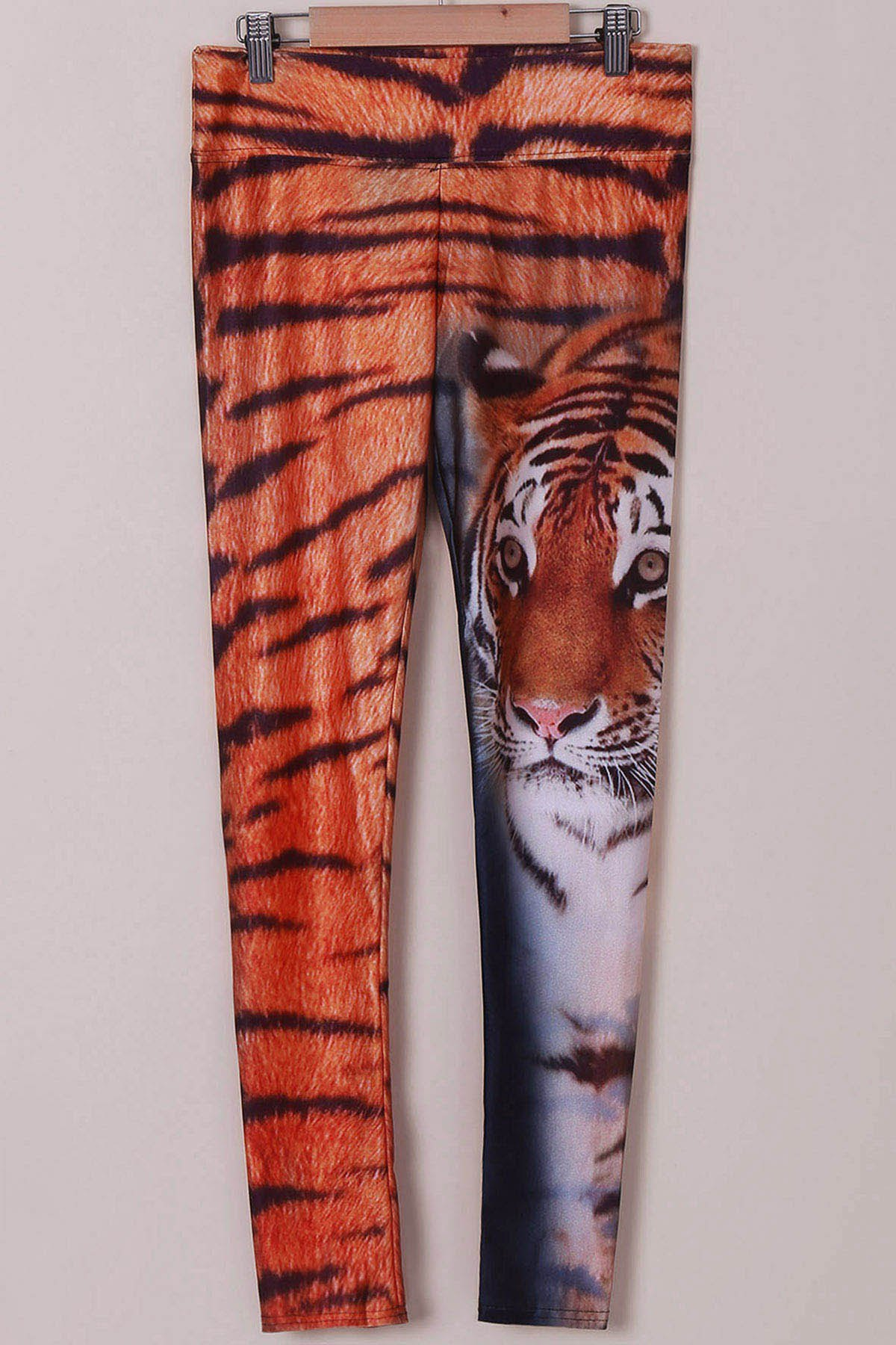 Chic High Stretchy Tiger Print Leggings For Women