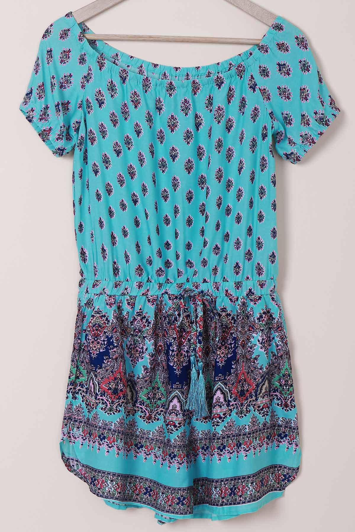 Bohemian Short Sleeve Off-The-Shoulder Printed Women's Romper - BLUE M