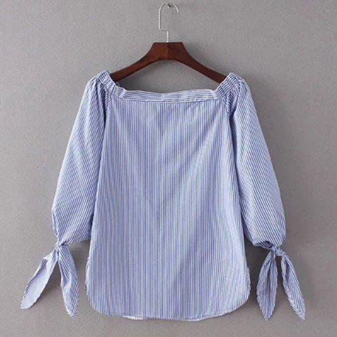 Trendy Pinstriped Off The Shoulder Blouse For Women - STRIPE S