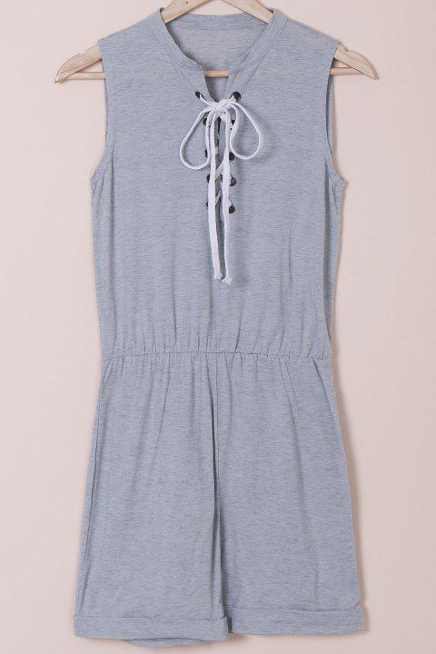 Casual Style Sleeveless Jewel Neck Lace-Up Women's Gray Romper - GRAY S