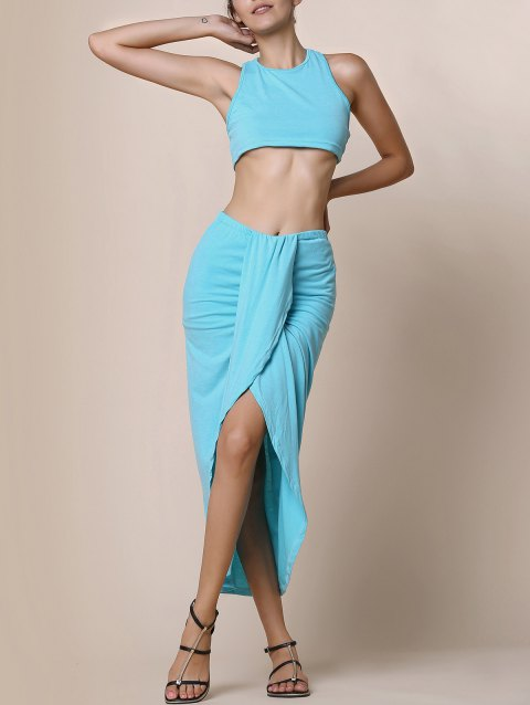 Sexy Candy Color Round Neck Crop Top and Irregular Skirt Two-Piece Set For Women - LAKE BLUE M