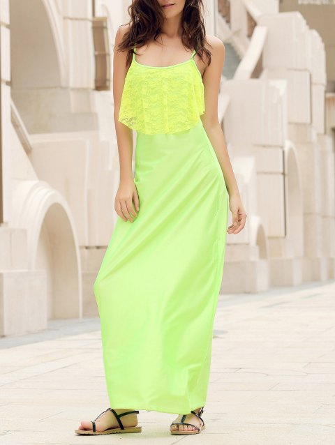 Backless Lace Trim Spaghetti Strap Floor Length Dress - NEON GREEN S