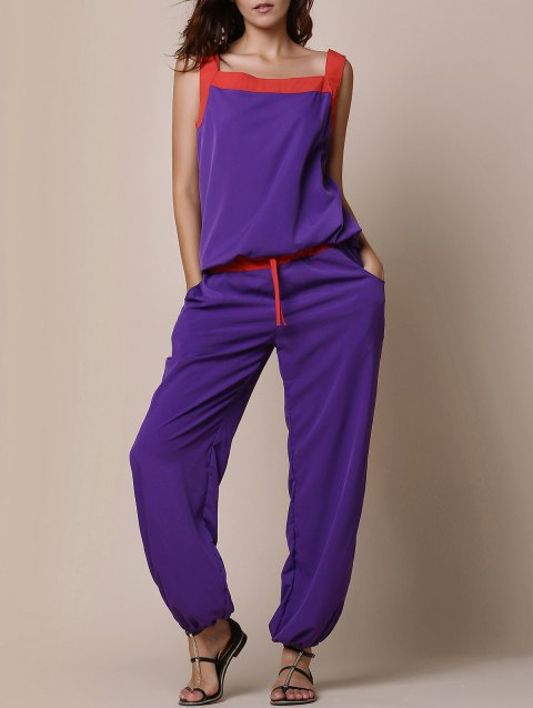 Stylish Women's Scoop Neck Color Block Tank Top and Drawstring Chiffon Pants Suit - PURPLE L