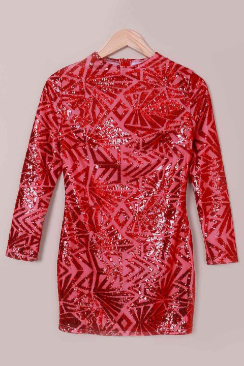 Support Sexy manches longues Robe col Paillettes Femmes - Rouge XL