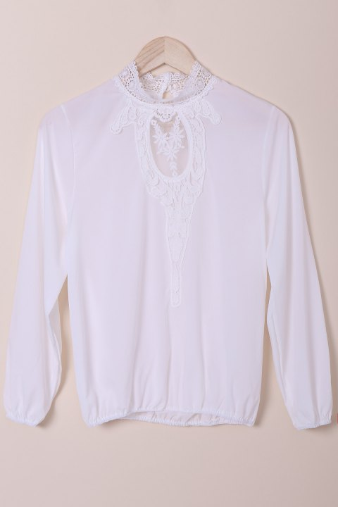 Stylish Stand-Up Collar Long Sleeve Hollow Out Crochet Women's Blouse - WHITE L