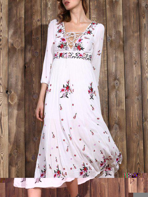 Trendy Plunging Neck Embroidered Lace-Up Women's Dress - WHITE L