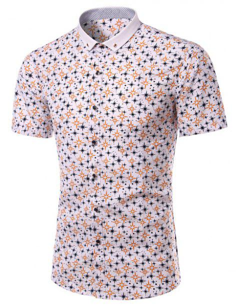 Turn-Down Collar Plus Size Stars Print Short Sleeve Men's Shirt - COLORMIX 4XL
