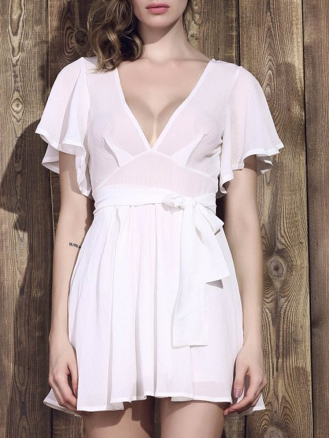 Sexy Plunging Neck Half Sleeve Low-Cut Women's White Dress - WHITE S