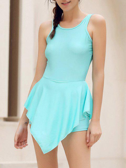 Alluring Round Neck pure Color Hole Design Irregular Romper For Women - Lac bleu M