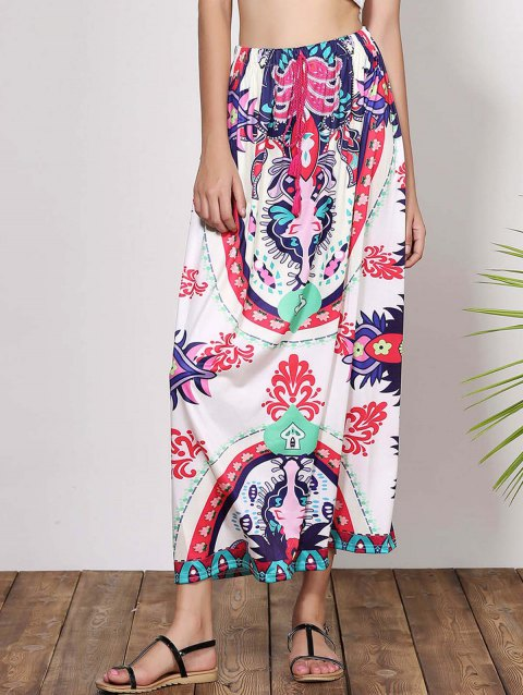 Bohemian Mid-Waisted Waist Drawstring Printed Women's Maxi Skirt - COLORMIX M
