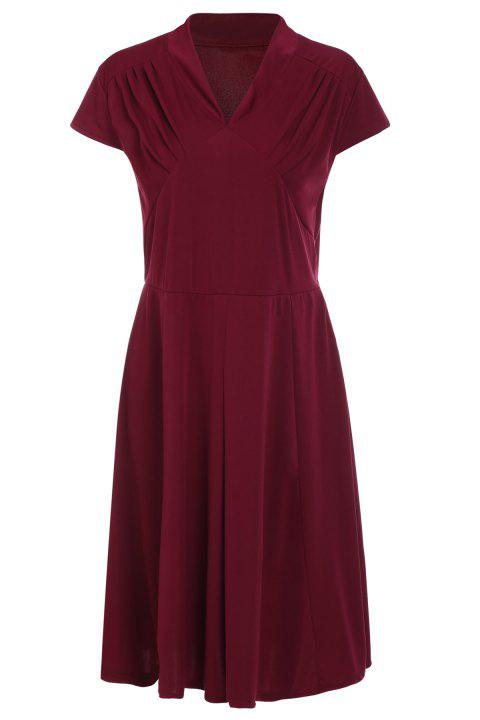 Retro Style Wine Red V-Neck Short Sleeve Dress For Women - WINE RED 2XL