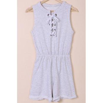 Casual Round Neck Sleeveless Solid Color Lace-Up Women's Romper