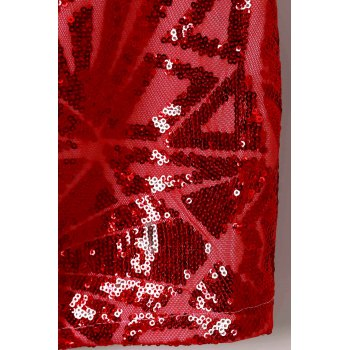 Sexy Long Sleeve Stand Collar Sequined Women's Dress - RED S