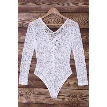 Sexy Long Sleeve Lace-Up Hollow Out Lace Women's Swimwear - WHITE S