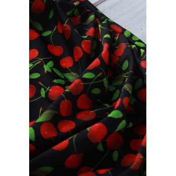 Endearing Cherry Printed Halter Stretchy One-Piece Swimwear For Women - BLACK L
