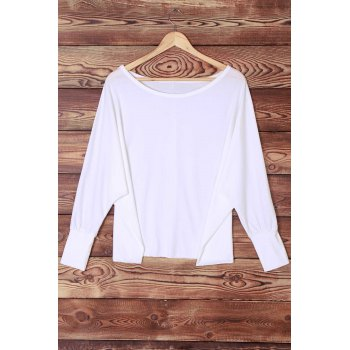 Sexy Off-The-Shoulder Long Sleeve Solid Color Loose Women's T-Shirt