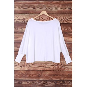 Sexy Off-The-Shoulder Long Sleeve Solid Color Loose Women's T-Shirt - WHITE S