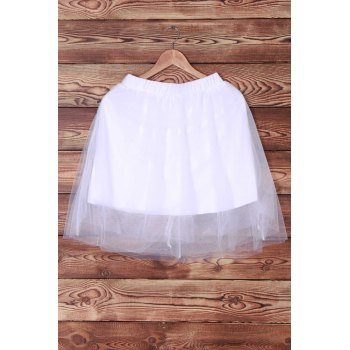 Elegant Elastic Waist White Layered Women's Voile Skirt