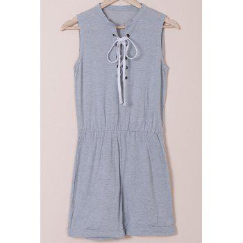 Casual Style Sleeveless Jewel Neck Lace-Up Women's Gray Romper
