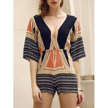 Sexy Plunging Neck 3/4 Sleeve Colored Striped Women's Romper