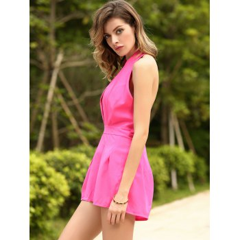 Sexy Halter Neck Sleeveless Solid Color Backless Women's Romper - ROSE M