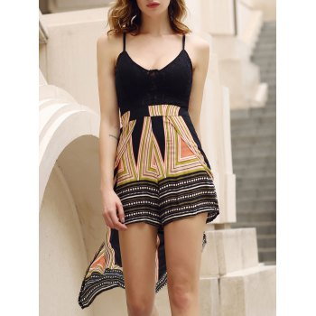 Stylish Plunging Neck Backless Multi Convertible Way Women's Skirted Romper