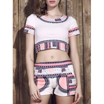 Fashionable Round Coller Short Sleeves Printed Crop Top + Shorts Women's Twinset
