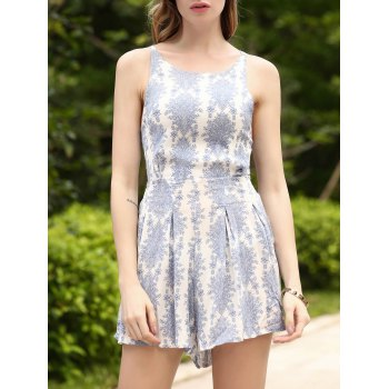 Refreshing Backless Printed High Waist Romper For Women
