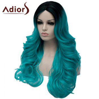 Charming Long Middle Part Capless Fluffy Wavy Black Mixed Green Women's Synthetic Wig - BLACK/GREEN