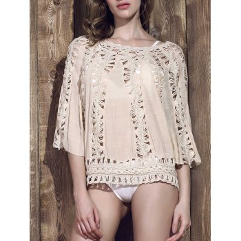 Chic Women's Scoop Neck Hollow Out Knitted 3/4 Sleeve Blouse