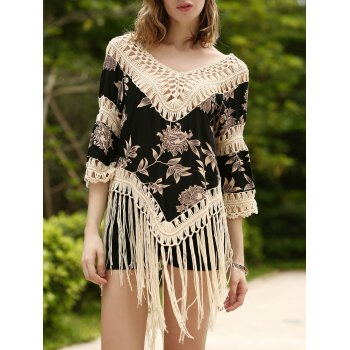 Trendy 3/4 Sleeve V-Neck Fringed Asymmetrical Floral Print Women's Cover-Up