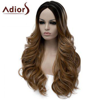 Stylish Long Middle Part Fluffy Wavy Light Brown Highlight Synthetic Wig For Women - COLORMIX