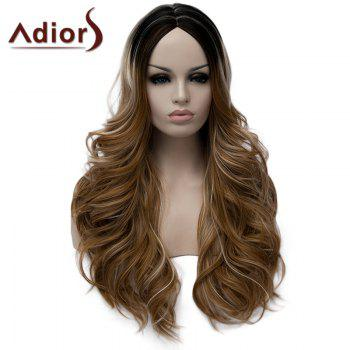 Stylish Long Middle Part Fluffy Wavy Light Brown Highlight Synthetic Wig For Women