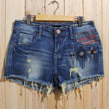 Buy Trendy Bleach Wash Ripped Shorts Women DENIM BLUE