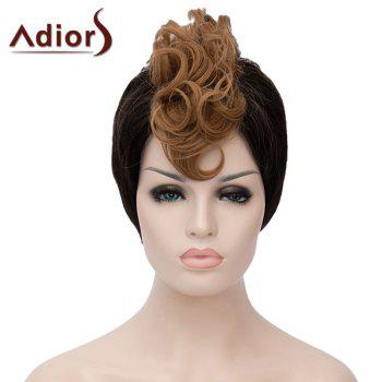 Stylish Side Bang Synthetic Short Capless Fluffy Brown Highlight Curly Bump Wig For Women