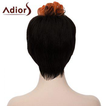 Attractive Orange Highlight Short Capless Fluffy Synthetic Curly Women's Bump Wig - BLACK/ORANGE