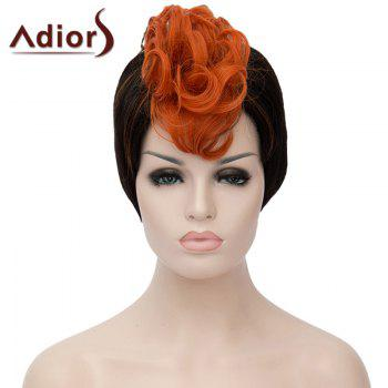 Attractive Orange Highlight Short Capless Fluffy Synthetic Curly Women's Bump Wig