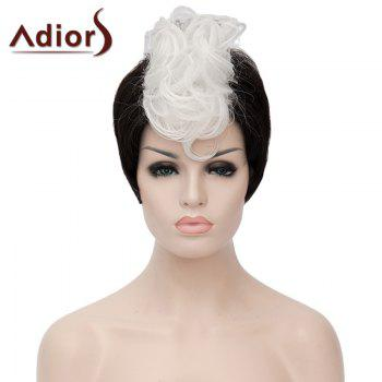 Fashion White Highlight Synthetic Short Capless Fluffy Curly Bump Wig For Women