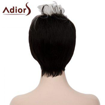 Fashion White Highlight Synthetic Short Capless Fluffy Curly Bump Wig For Women - WHITE/BLACK