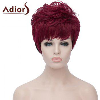 Fluffy Natural Wave Synthetic Side Bang Attractive Short Wine Red Ombre Black Wig For Women