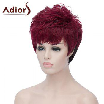 Fluffy Natural Wave Synthetic Side Bang Attractive Short Wine Red Ombre Black Wig For Women - RED/BLACK